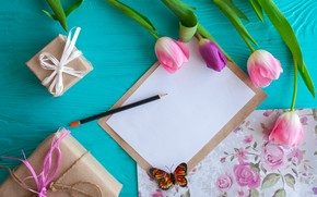 Picture flowers, gift, butterfly, tulips, pink, wood, pink, flowers, romantic, tulips, gift, spring