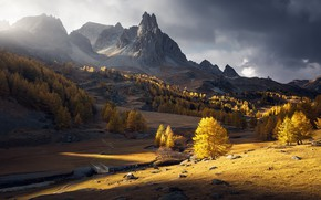 Picture autumn, mountains, morning