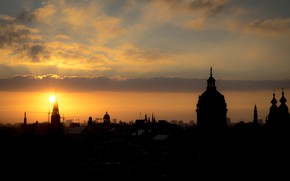 Picture sunset, silhouette, Amsterdam, panorama, Netherlands