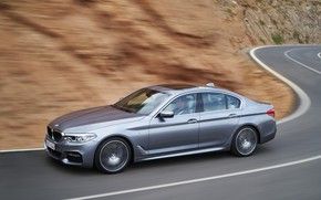 Picture road, grey, movement, speed, turn, BMW, sedan, 540i, 5, M Sport, four-door, 2017, 5-series, G30