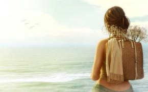 Picture sea, girl, birds, satchel