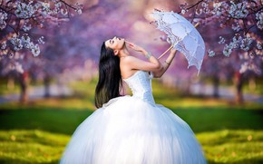 Picture girl, trees, branches, pose, umbrella, mood, spring, garden, the bride, flowering, wedding dress