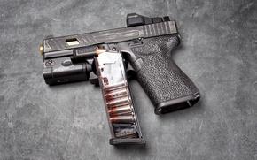 Picture macro, gun, background, clip, Glock 19, self-loading, tactical flashlight
