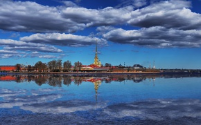 Picture the sun, clouds, reflection, angel, panorama, Cathedral, temple, spire, Neva, Peter and Paul fortress St.petersburg, …