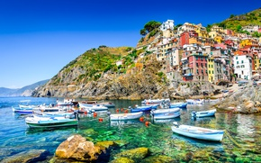 Picture sea, rocks, coast, Villa, boats, Italy, houses, Riomaggiore, travel