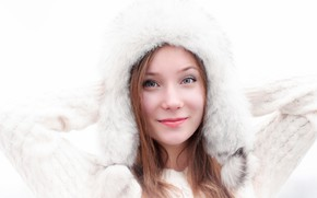 Picture look, girl, face, pose, hat, portrait, makeup, white background, fur, red, in white, cute, jumper
