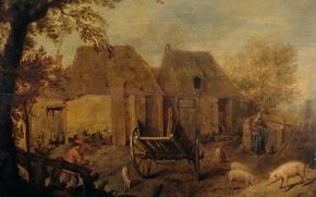 Picture landscape, oil, picture, Backyard Farm