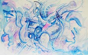Picture blue, pink, blue, Figure, Blizzard, Blizzard, Lena Horn, winter style