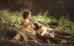 Picture joy, baby, puppy