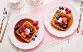 Picture berries, Breakfast, honey, French toast