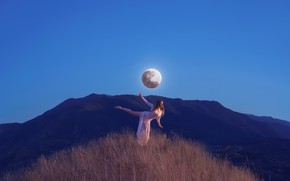 Picture girl, the moon, dance, Lichon, Passing the moon