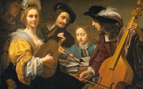 Picture oil, picture, canvas, genre, Playing Music Company, Gerard van Kuijl