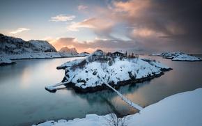 Picture winter, bridge, island, Norway, Troms County, Hamn