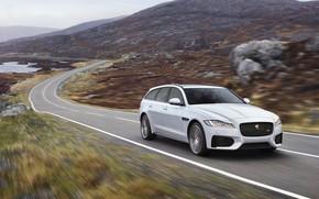 Picture road, white, landscape, movement, hills, Jaguar, universal, XF Sportbrake 25d AWD