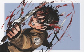 Picture blood, rage, the battle, madness, swords, art, military uniform, Eren Yeager, Attack Of The Titans, …