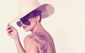 Picture the sun, background, back, hat, makeup, actress, tattoo, glasses, hairstyle, singer, photoshoot, Lady Gaga, Lady …