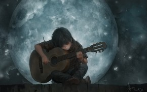 Wallpaper the moon, mood, The Song Of The Moon, guy, romance, lee kent, roof