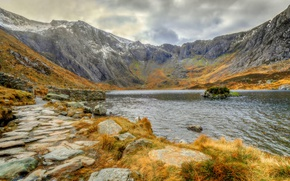 Picture mountains, lake, Wales, Llyn Idwal