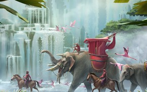Picture animals, waterfall, jungle, Flamingo, palace march