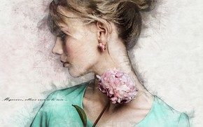 Picture girl, art, blonde, profile, peony