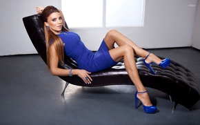 Picture girl, decoration, chair, dress, shoes, brown hair, blue