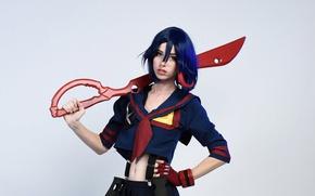 Picture girl, sword, ken, blade, cosplay, scissors, uniform, seifuku, Kill la Kill, part of a pair …