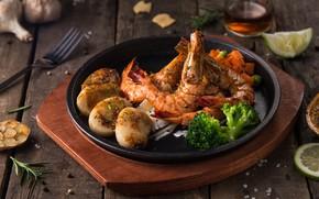 Picture shrimp, seafood, potatoes