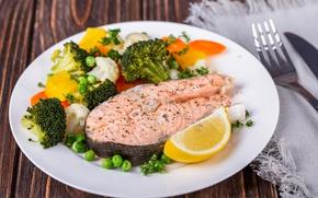 Picture vegetables, lemon, fish, salmon