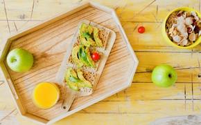 Picture Breakfast, juice, buterbrodi