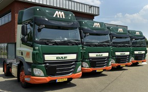 Picture the sky, clouds, the building, Parking, DAF, DAF, Space Cab, 4x2, Euro6, tractors, dark green, …
