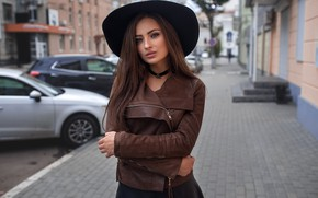 Picture hat, portrait, pose, jacket, the sidewalk, home, brown hair, machine, beauty, hairstyle, makeup, street, Dmitry …