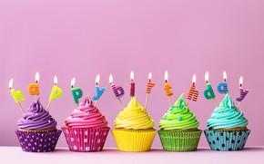 Wallpaper cake, candles, cake, candle, Birthday, cupcake, cupcake, colorful, celebration, decoration, Happy Birthday