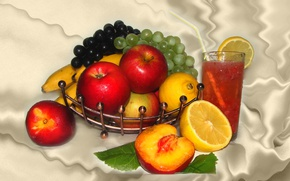 Picture summer, nature, mood, lemon, Apple, beauty, mix, grapes, citrus, fruit, still life, peach, dessert, beautiful, …