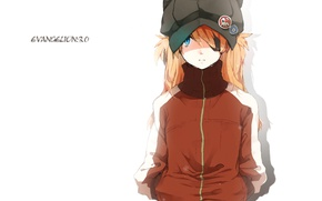 Picture hat, jacket, white background, red, Neon Genesis Evangelion, Asuka Langley Soryu, icons, eye patch