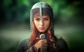 Wallpaper sword, girl, greens, A warrior, makeup, bokeh, hairstyle, beauty, Olga Boyko, helmet, background, knight, mail, ...