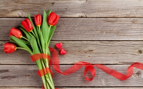 Wallpaper bouquet, tape, tulips, red, wood, romantic, hearts, tulips, valentine's day