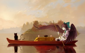 Picture fog, reflection, boat, the tea party, calm, paddle, two tails, Reiu Equipment, Utsuho, black wings, …
