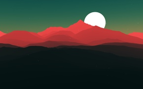 Picture sunset, mountains, red, the moon, bright, Abstraction
