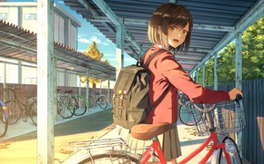 Wallpaper bike, girl, Parking