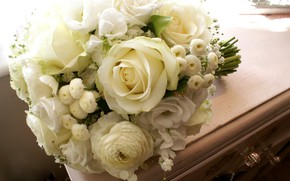 Picture flowers, bouquet, white roses