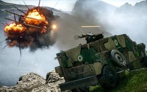 Wallpaper fire, battlefield, flame, gun, Car, game, smoke, weapon, war, rocks, death, valley, shot, armored, spark, ...