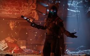 Picture gun, game, armor, weapon, suit, hood, Destiny, Destiny 2