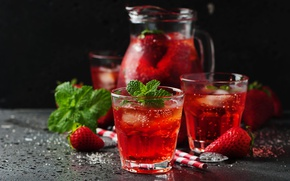 Picture ice, glass, strawberry, tube, drink, pitcher, mint, lemonade
