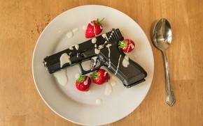 Picture gun, strawberry, plate, spoon