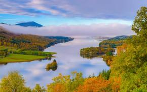 Picture autumn, clouds, trees, lake, Scotland, Scotland, Perthshire, Schiehallion, Tay Forest Park, Loch Tummel, Perthshire, Loch …