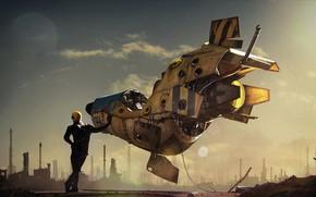 Picture moon, fantasy, sky, science fiction, stars, man, sci-fi, digital art, artwork, suit, fantasy art, pilot, …