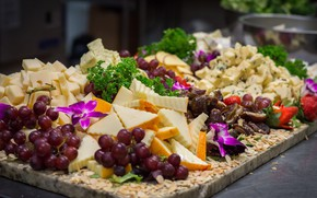 Picture greens, berries, food, cheese, fruit, cutting