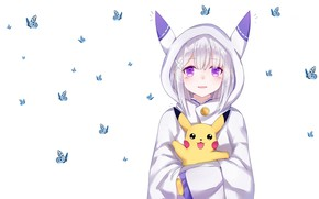 Picture anime, art, Emilia, Pikachu