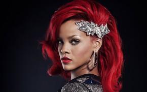 Picture earrings, singer, Rihanna, red hair