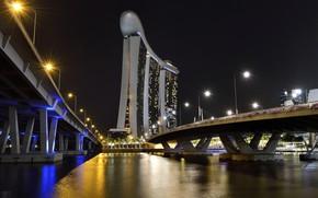 Picture Lights, Bridge, Night, The city, Ship, Singapore, Skyscraper